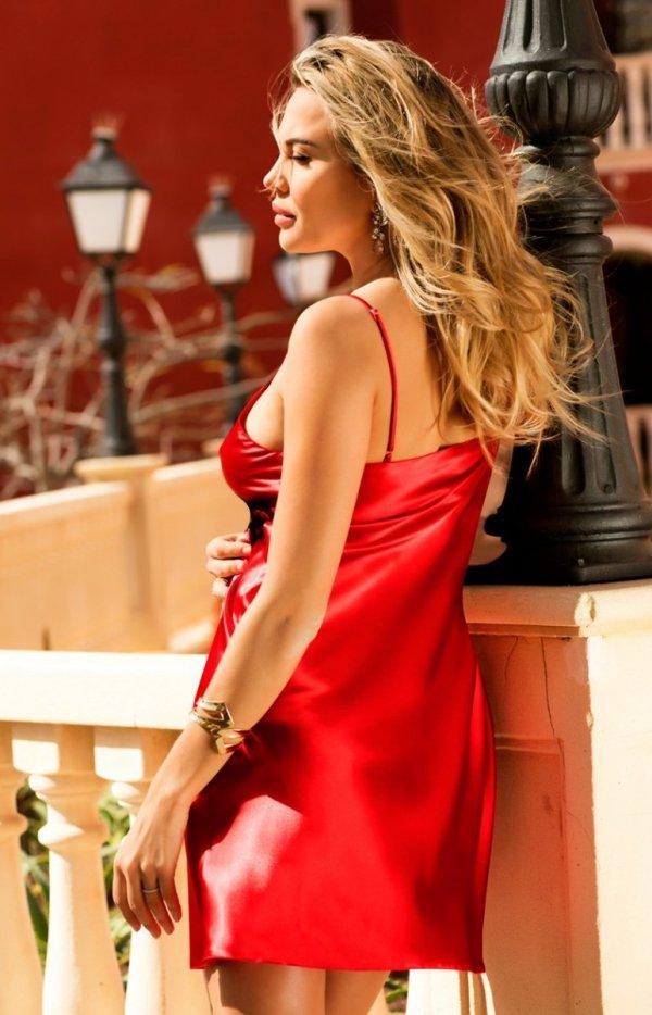 Dkaren satynowa koszulka czerwona Doris tył
