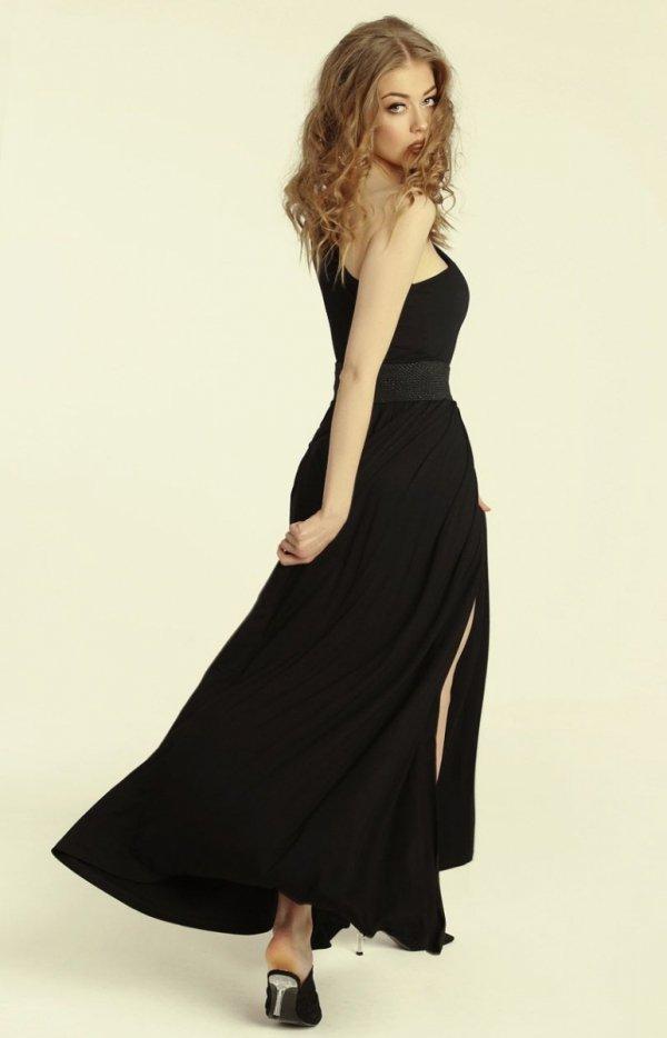 Długa sukienka na jedno ramię Erin tył
