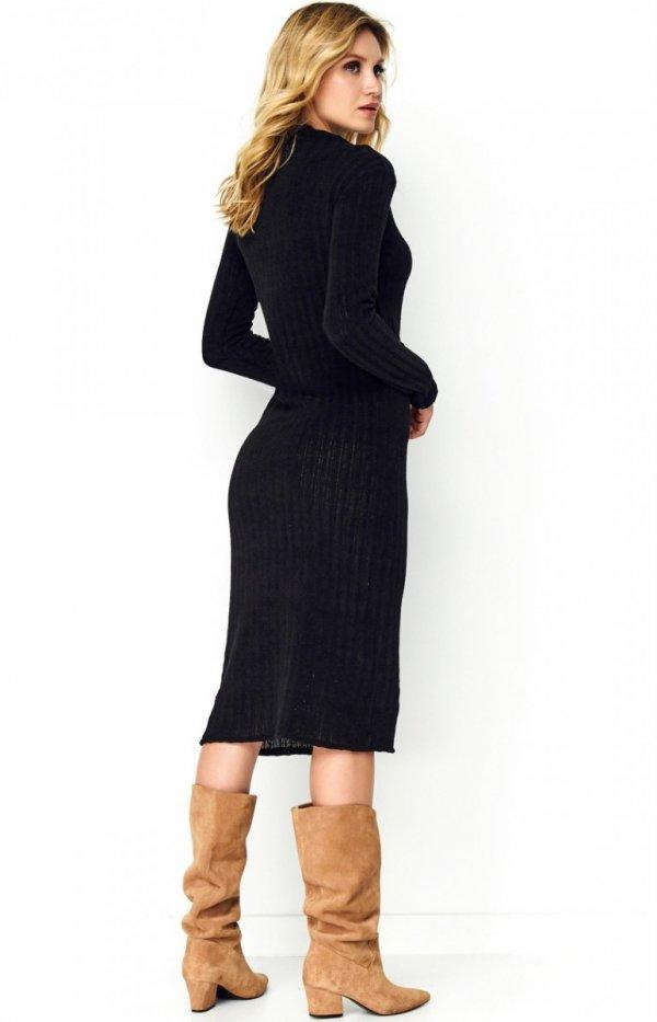 Sweterkowa dopasowana sukienka czarna S100 tył