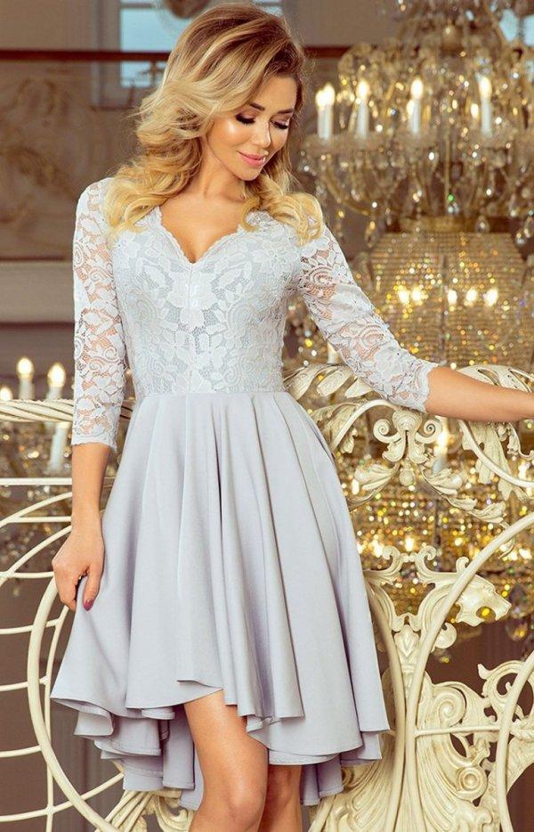 Sukienka szara z dłuższym tyłem Numoco 210-9