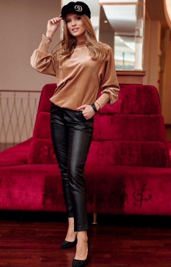 Welurowa bluzka damska cappucino 0094-1