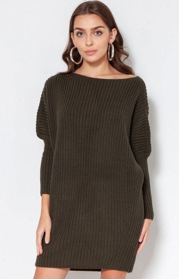 Oversizowy sweter damski khaki SWE135