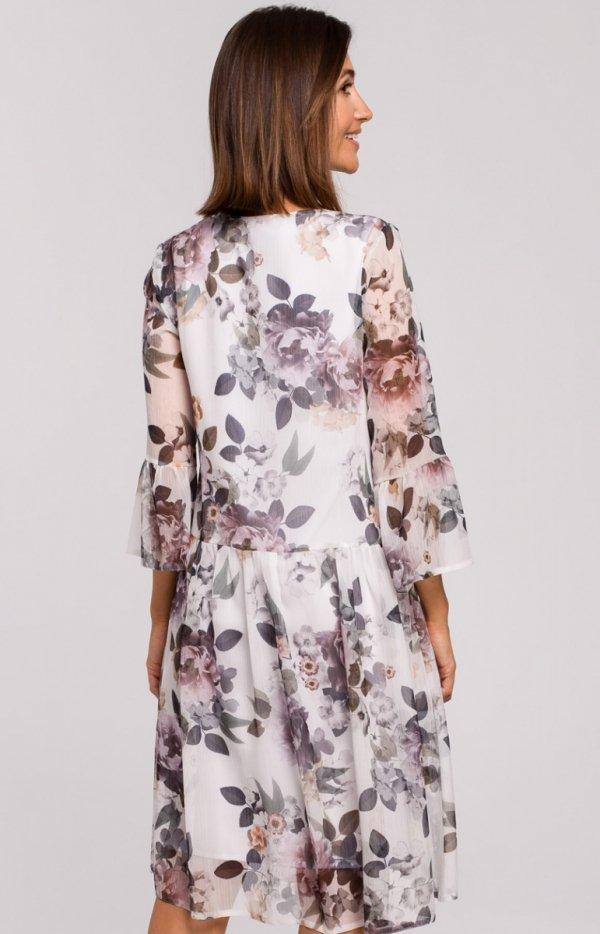 Oversizowa sukienka w kwiaty S214/1 tył