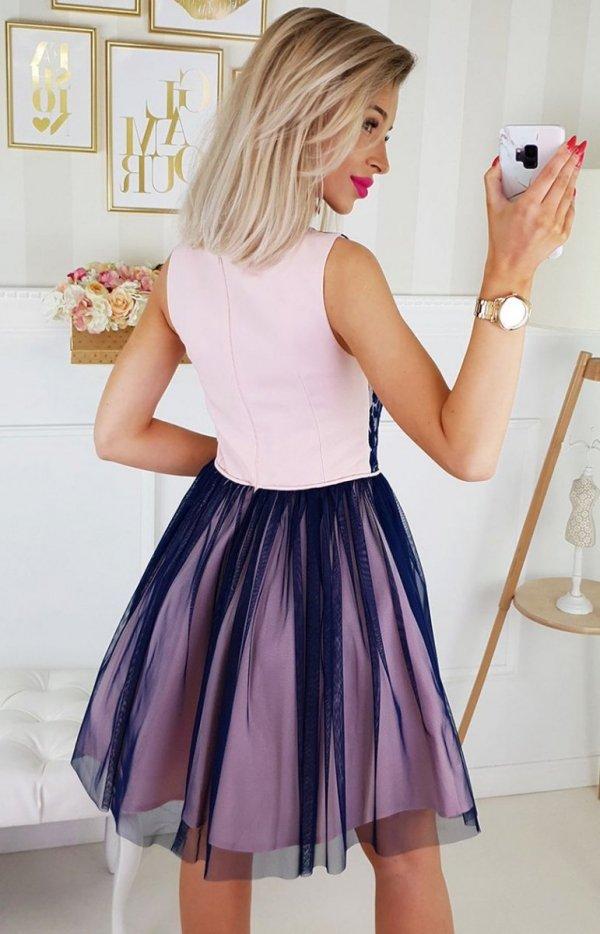 Rozkloszowana sukienka z tiulem 2179-11 tył