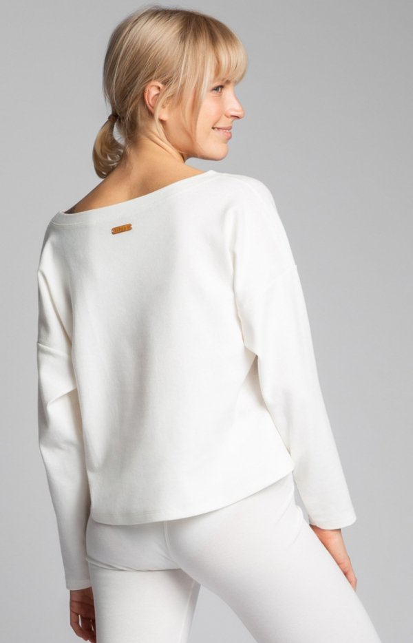 Bawełniana bluza damska ecru LA037 tył