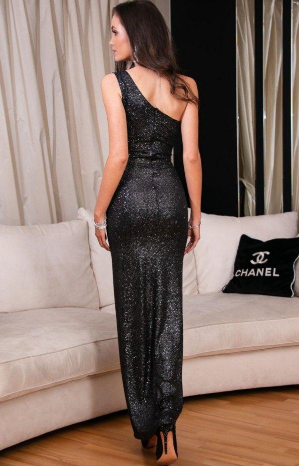 Elegancka czarna sukienka z brokatem 274 tył