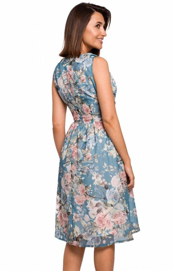 Letnia sukienka w kwiaty S225/4 tył