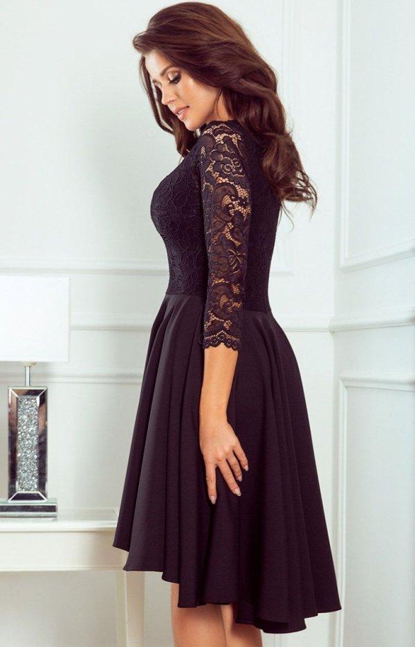 Czarna sukienka z dłuższym tyłem Numoco 210-10 tył
