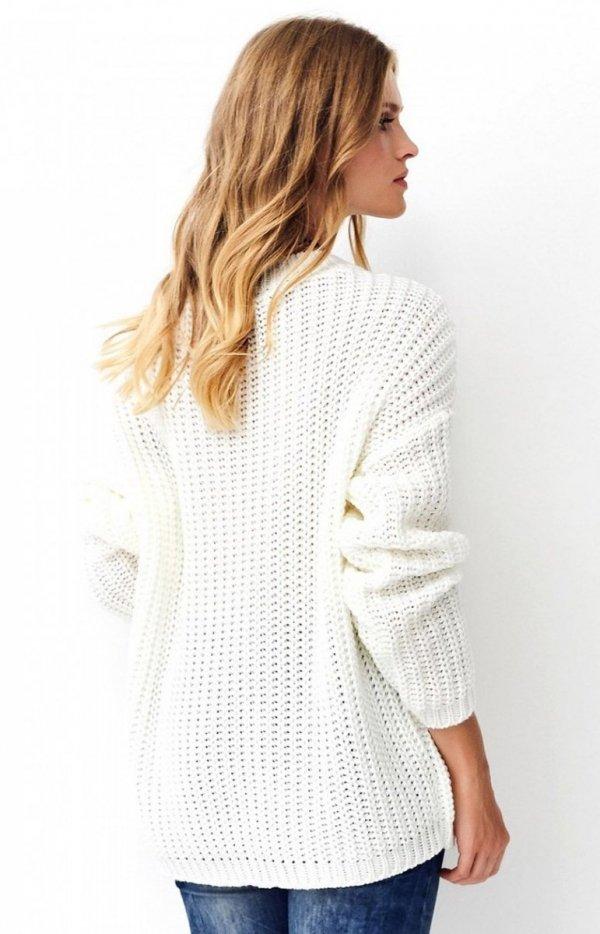 Oversizowy sweter ecru S74 tył