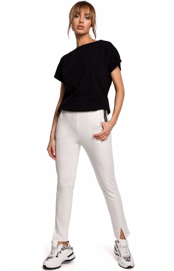 Dresowe spodnie z rozporkami ecru M493