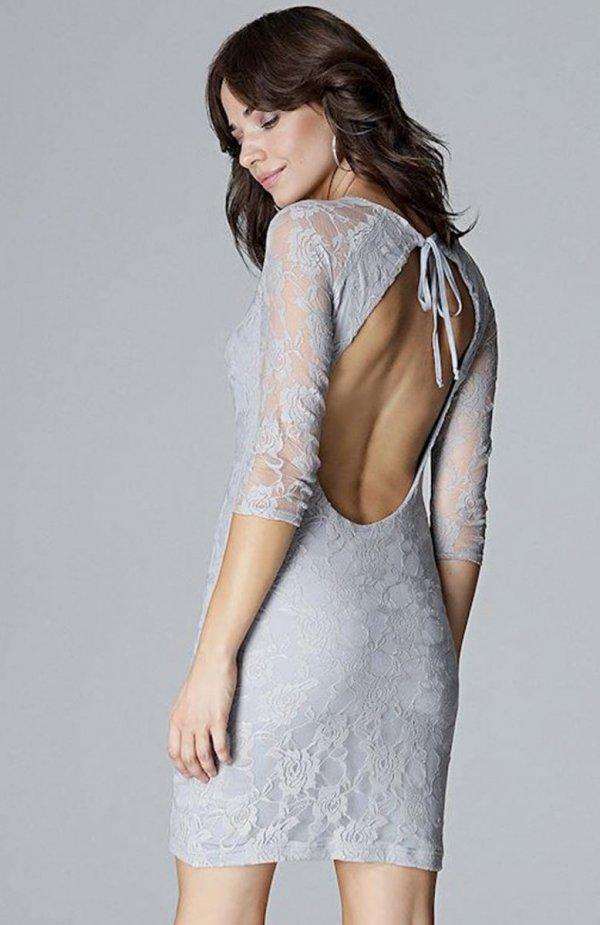 Lenitif L017 sukienka koronkowa szara tył