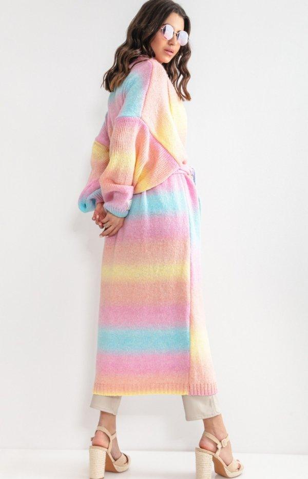 Długi kardigan multicolor bali z wełną F1160 tył