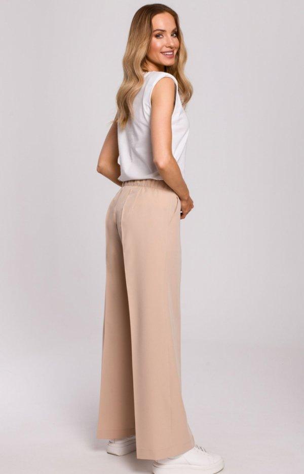 Szerokie spodnie damskie plazzo beżowe M570 tył