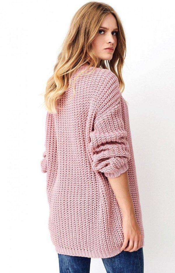 Oversizowy sweter brudny róż S74 tył