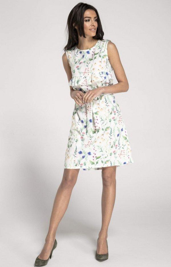 Prosta sukienka w kwiaty ecru NA1001_1