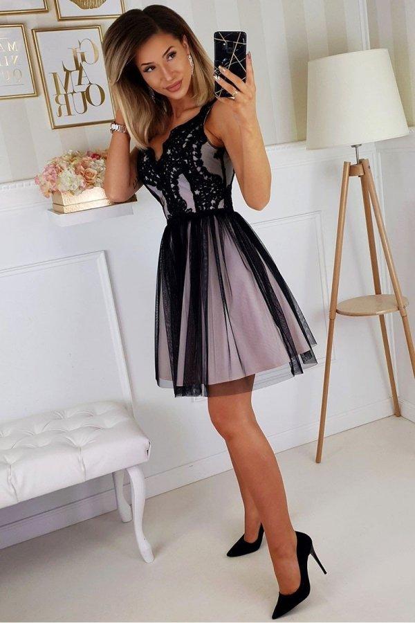 Rozkloszowana sukienka z koronką czarno-beżowa Bicotone 2206-16-1