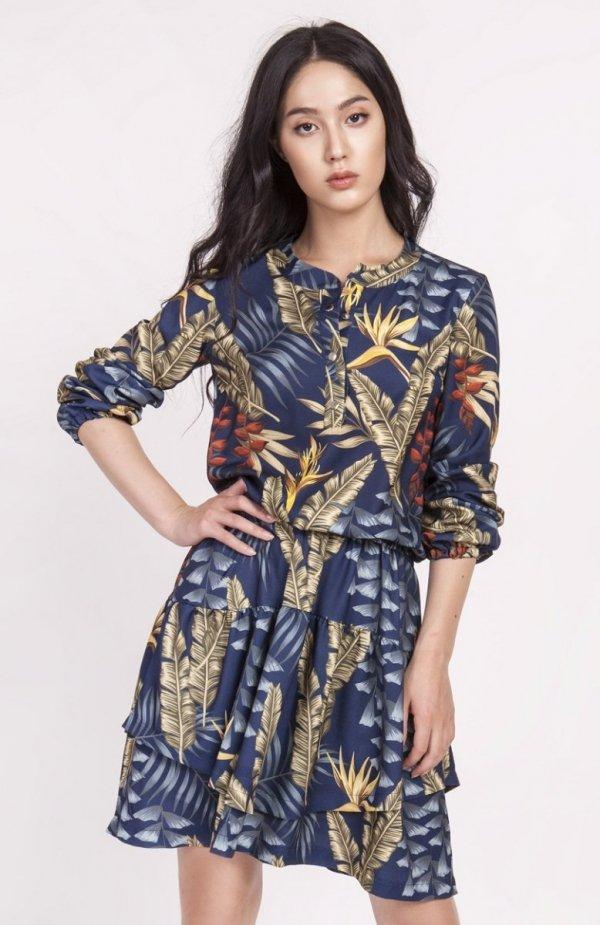 Sukienka z falbanką liście granat SUK174