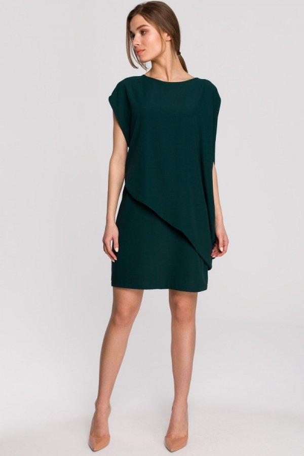 Elegancka sukienka mini warstwowa zielona S262-1