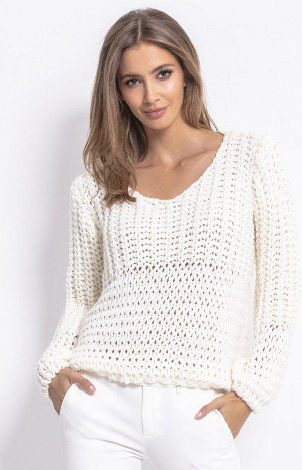 Oversizowy sweter z grubym splotem ecru F760
