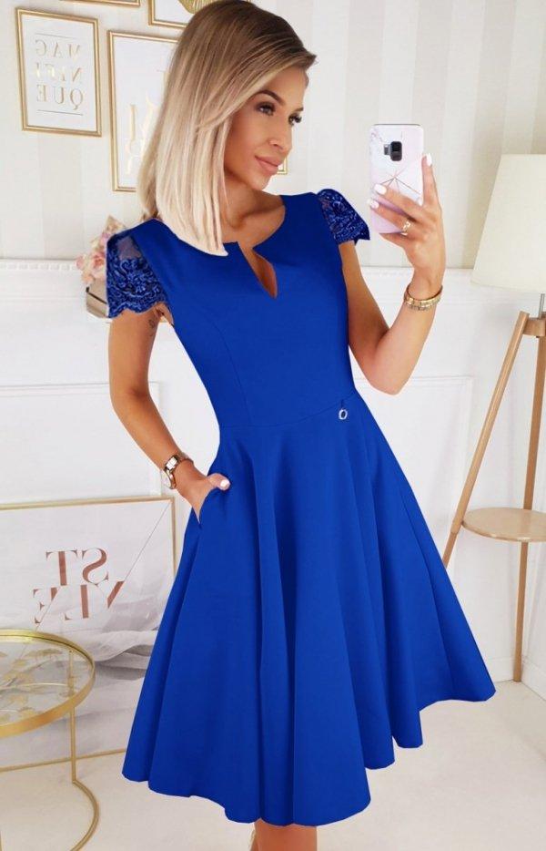 Koktajlowa sukienka midi chabrowa 2212-05