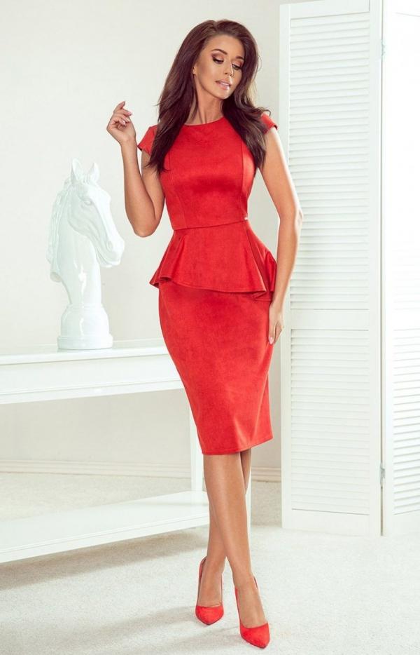 Ołówkowa sukienka z baskinką Numoco 192-11-1