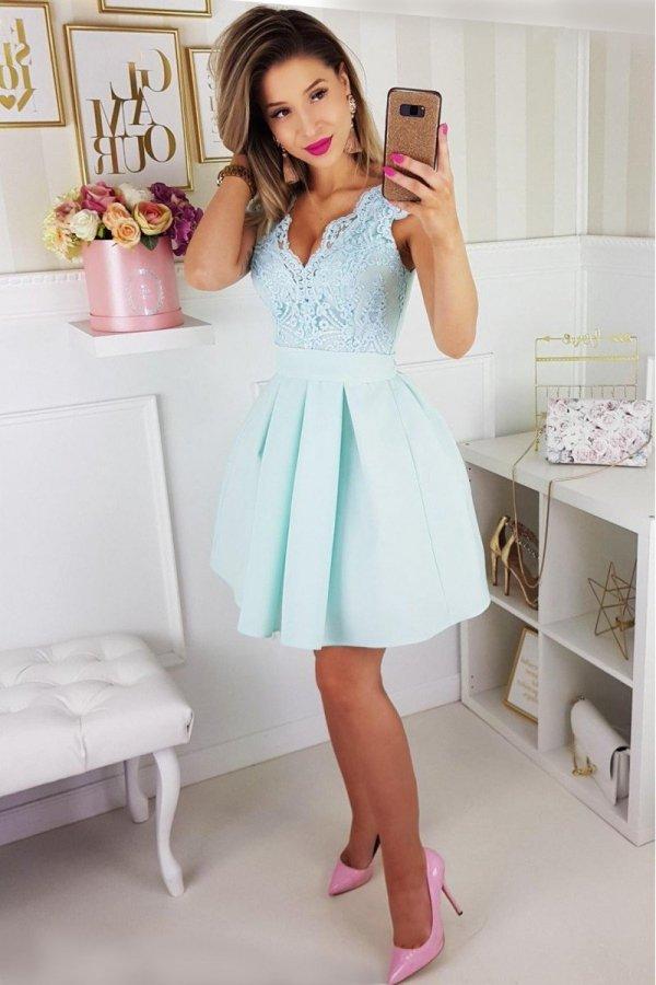 Bicotone rozkloszowana sukienka miętowa 2139-15_2