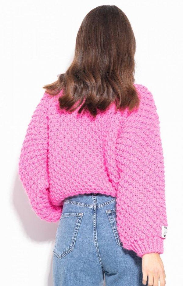 Ciepły gruby sweter damski różowy F1135 tył