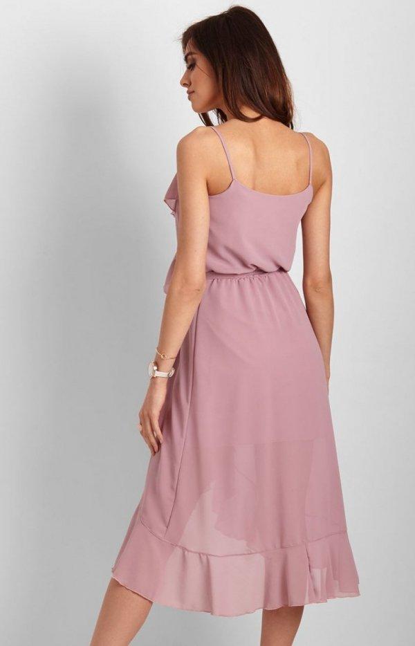 Letnia sukienka midi rożowa Chantal tył