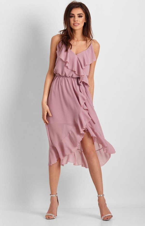*Letnia sukienka midi rożowa Chantal