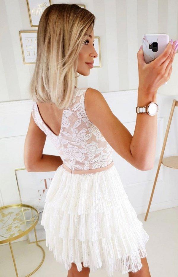 Elegancka sukienka z koronką beżowa 2211-21 tył
