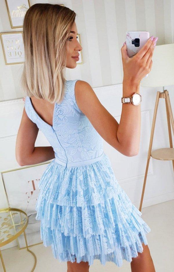 Elegancka sukienka z koronką błękitna 2211-15 tył