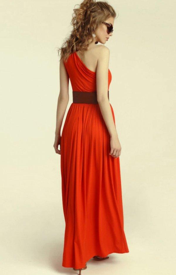 Długa sukienka na jedno ramię Erin red tył