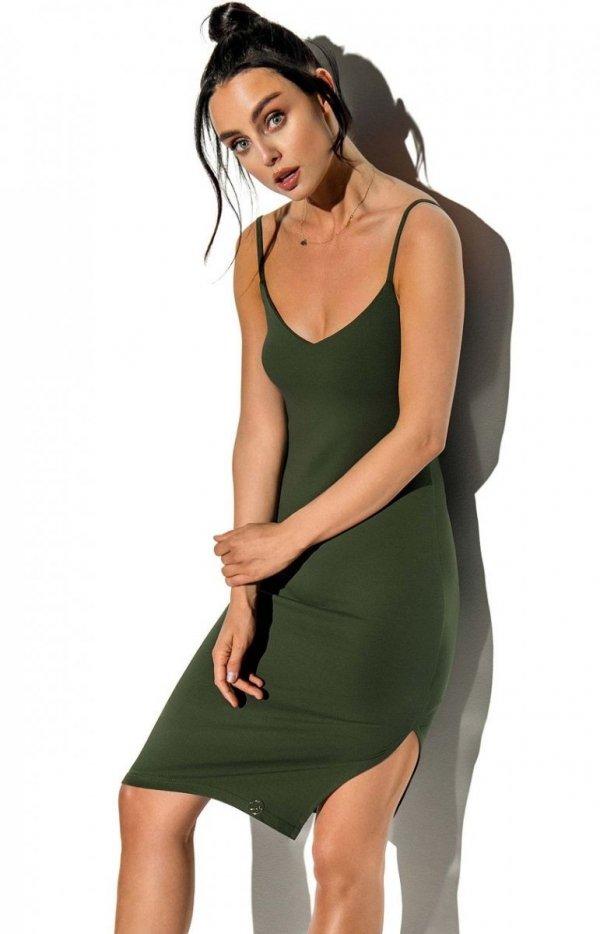 Dopasowana sukienka na ramiączkach khaki LN118