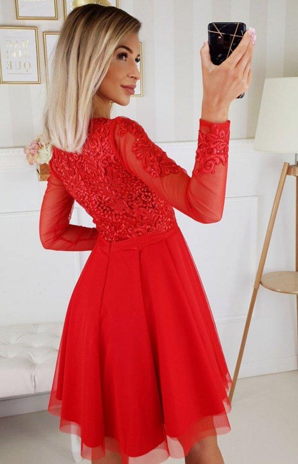 Czerwona sukienka rozkloszowana 2160-02 tył