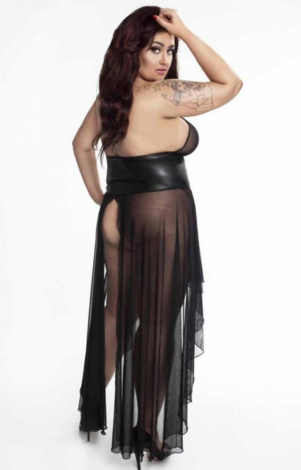 Erotyczna długa sukienka F047 tył