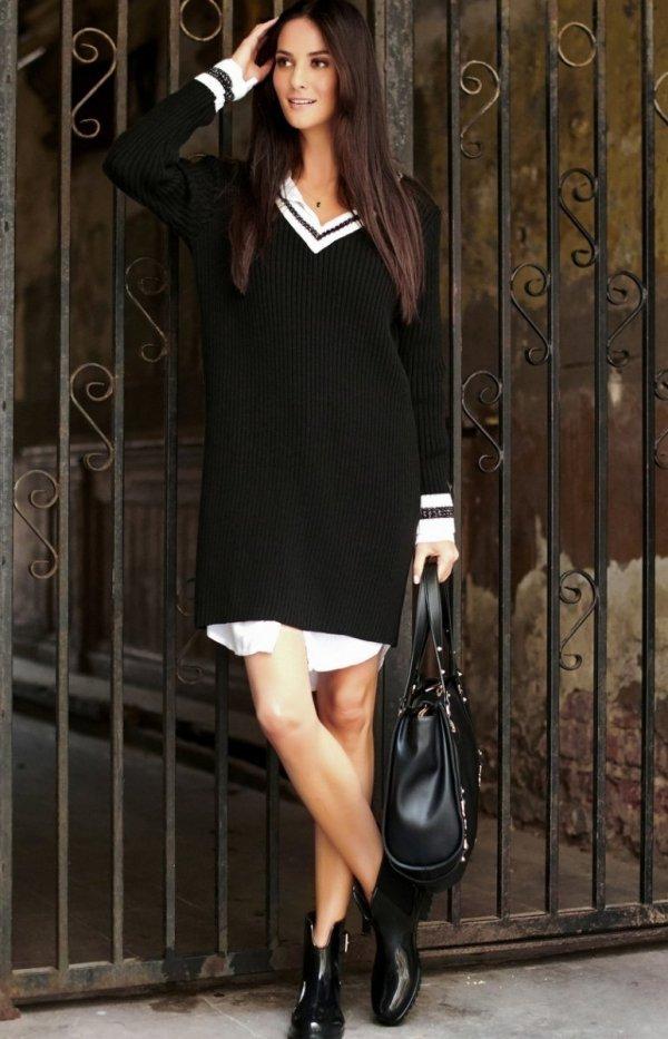 Sportowa sukienka czarna S69-1