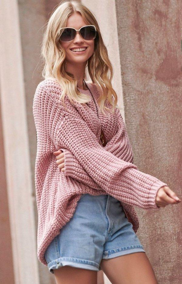 Oversizowy sweter brudny róż S74-1