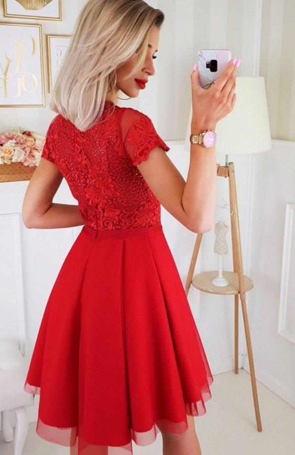 Bicotone 2180-02 sukienka rozkloszowana czerwona tył