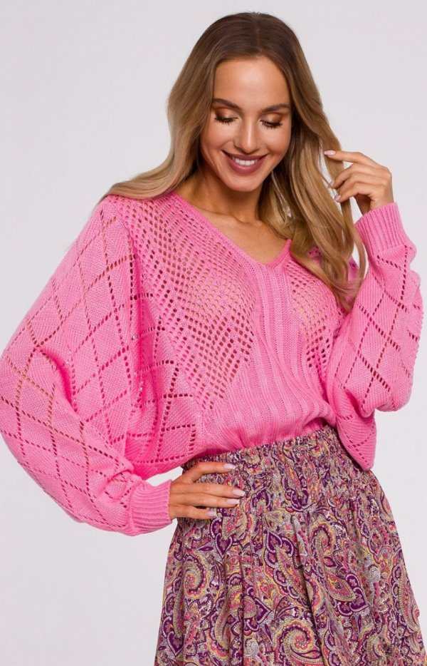 Lekki ażurowy sweterek róż M595