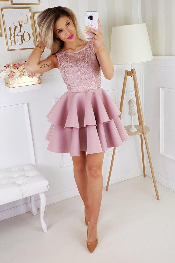 Piankowa sukienka z koronką 2175-20_2