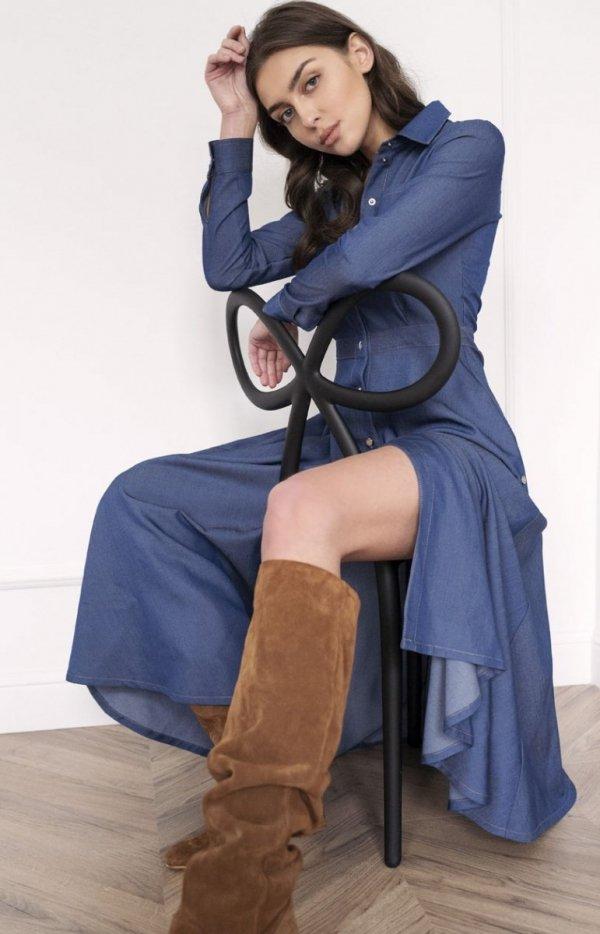 Koszulowa sukienka maxi jeans SUK190