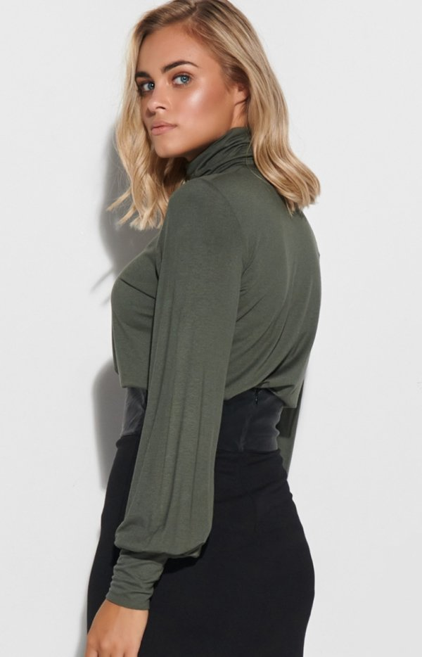 Bluzka damska khaki Makadamia M593 tył