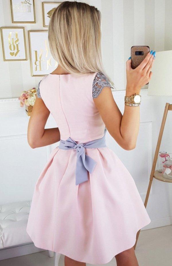 Bicotone 2139-33 sukienka jasny róż tył