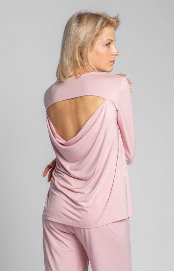 Wiskozowa różowa bluzka z rozcięciem na plecach LA027 tył