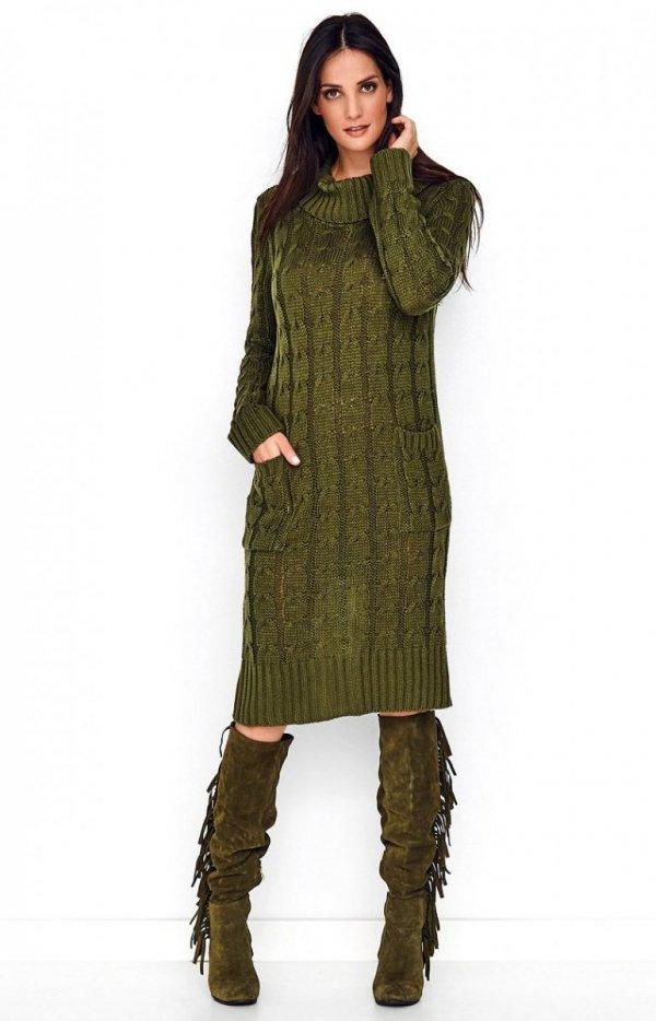 Sweterkowa sukienka z golfem khaki S68-1