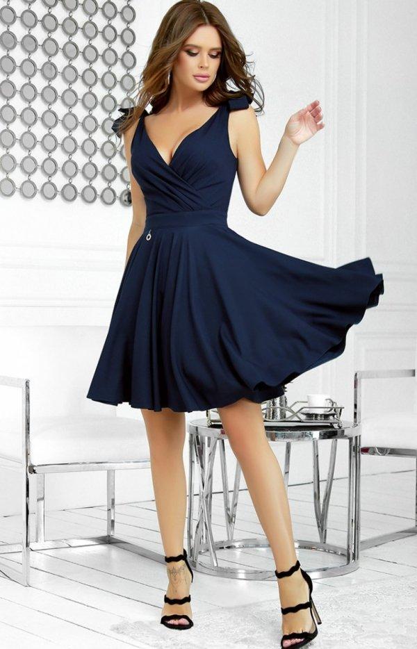 Wizytowa sukienka z kokardkami granatowa 2209-01-2
