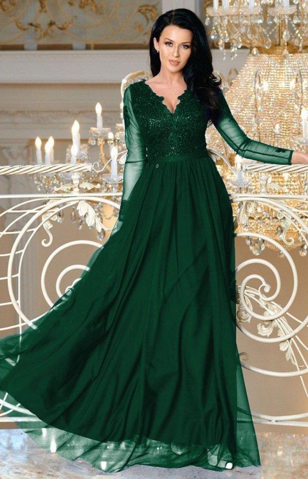 Wieczorowa sukienka maxi butelkowa zieleń 2167-13