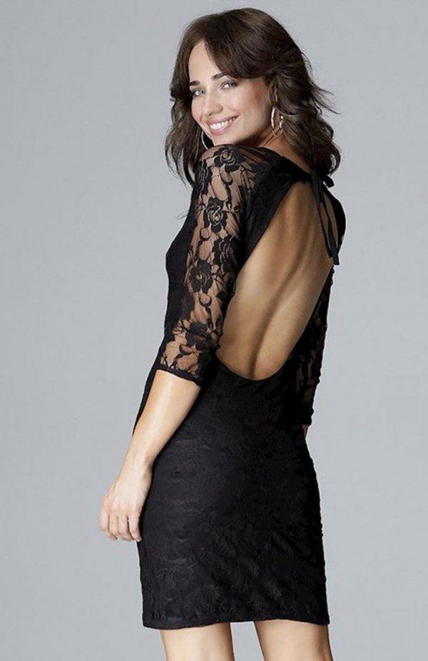 Lenitif L017 sukienka koronkowa czarna tył