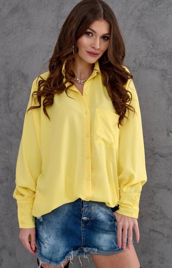 Oversizowa koszula damska 0107 żółta-1