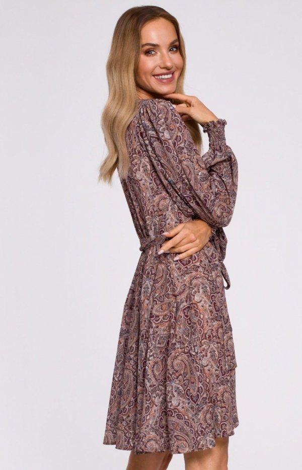 Lekka kopertowa sukienka M576/1 tył